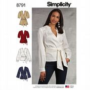 8791 Simplicity Pattern: Misses' Wrap Tops with Sleeve Variations